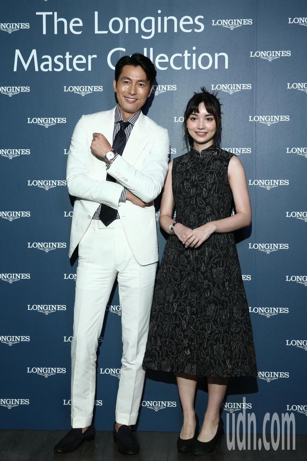 鄭雨盛(左)與黑嘉嘉(右)晚間一起出席浪琴表新品上市派對。記者蘇健忠/攝影