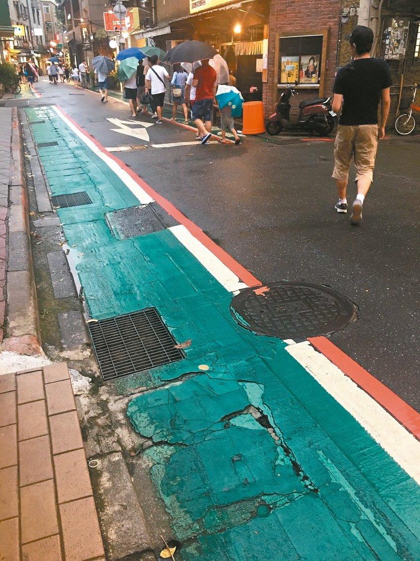 里長大小聲/永康商圈綠色人行道不平 李明螢盼市府速改善