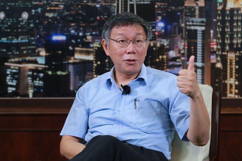 台北市長柯文哲接受聯合報專訪。記者許正宏/攝影