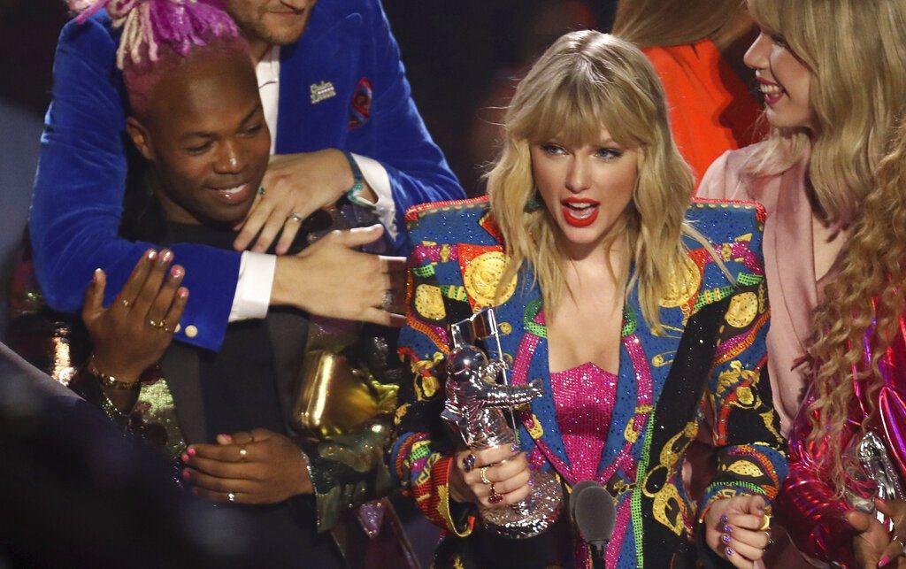 泰勒絲在2019 MTV音樂錄影帶大獎中獲得年度音樂錄影帶大獎。 圖/美聯社