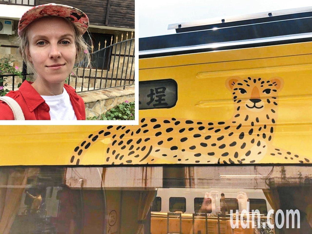 集集支線彩繪列車上的石虎圖案,其實是購買圖庫的圖,原作者是俄羅斯人。 本報資料照...