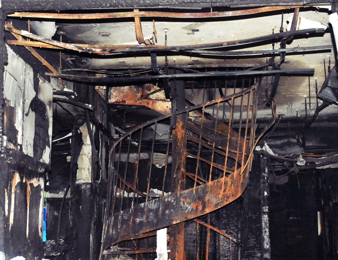 京阿尼縱火案中建築內部一景。 圖/路透社