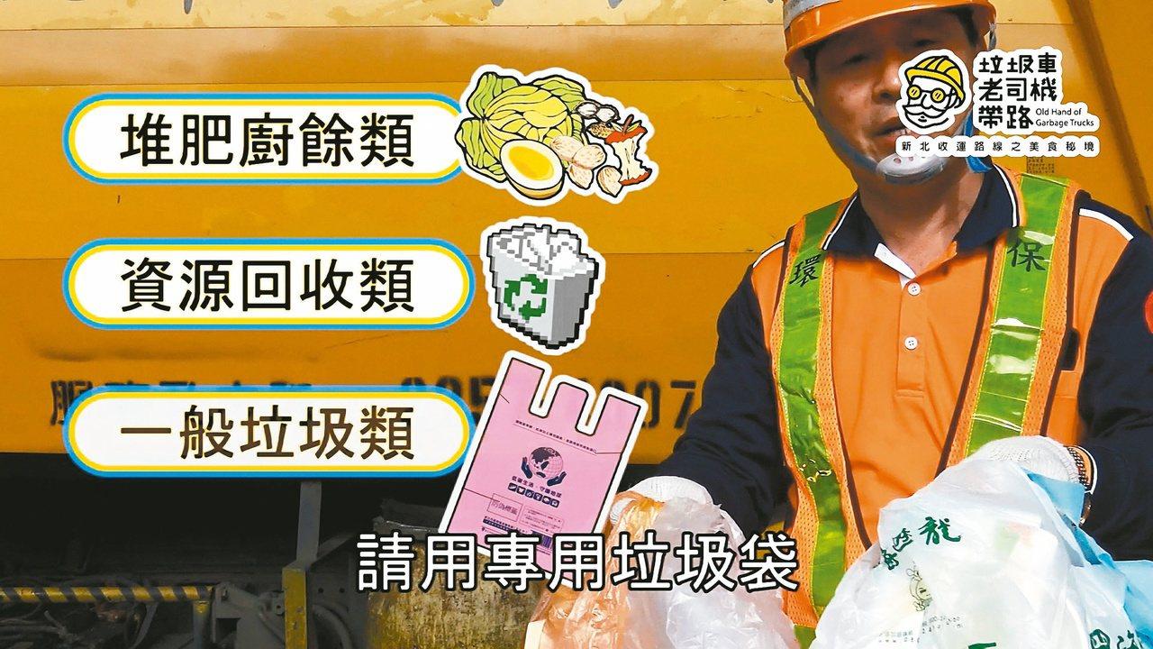 清潔隊員教民眾垃圾分類及使用專用垃圾袋。