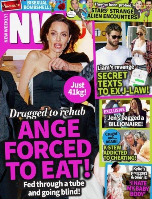 安琪莉娜裘莉被指剩下41公斤,身旁人員逼她接受「進食治療」。圖/摘自NW