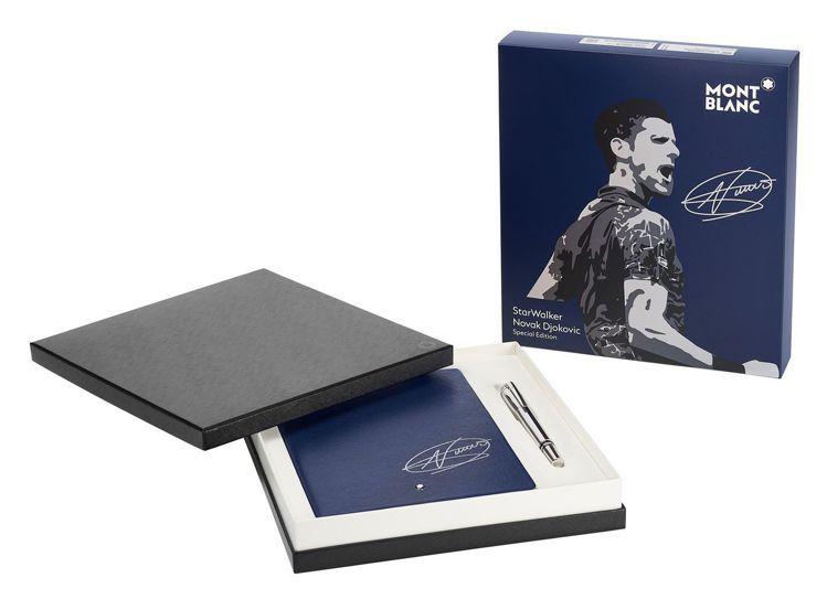 萬寶龍推出星際行者系列特別款細字筆及同款筆記本,皆有喬科維奇簽名,價格電洽。圖/...