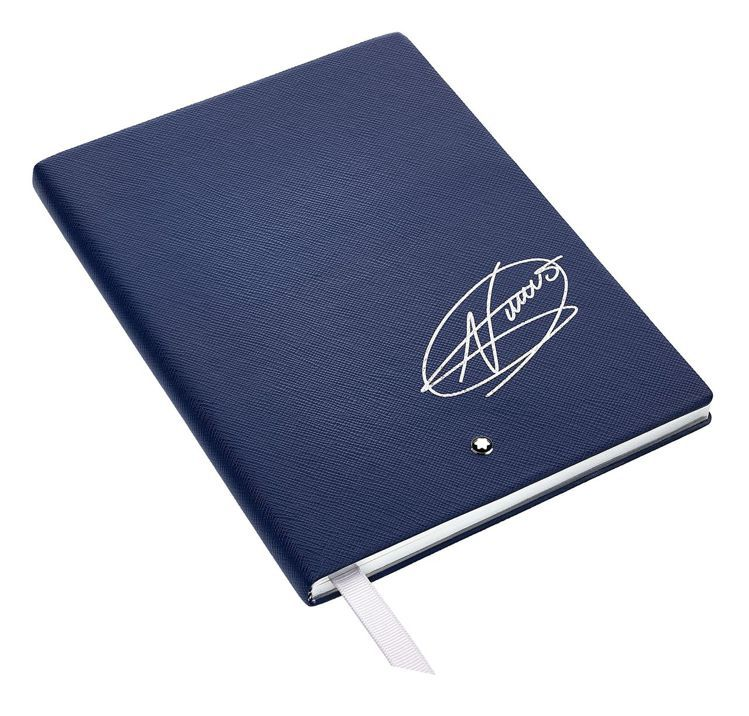 萬寶龍星際行者系列特別款筆記本,印有喬科維奇簽名,價格電洽。圖/萬寶龍提供