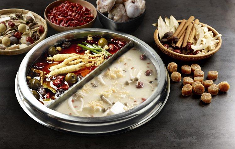 膠原蛋白養顔美容鍋(鴛鴦鍋375元)、滋補養生香辣鍋(鴛鴦鍋300元) 。