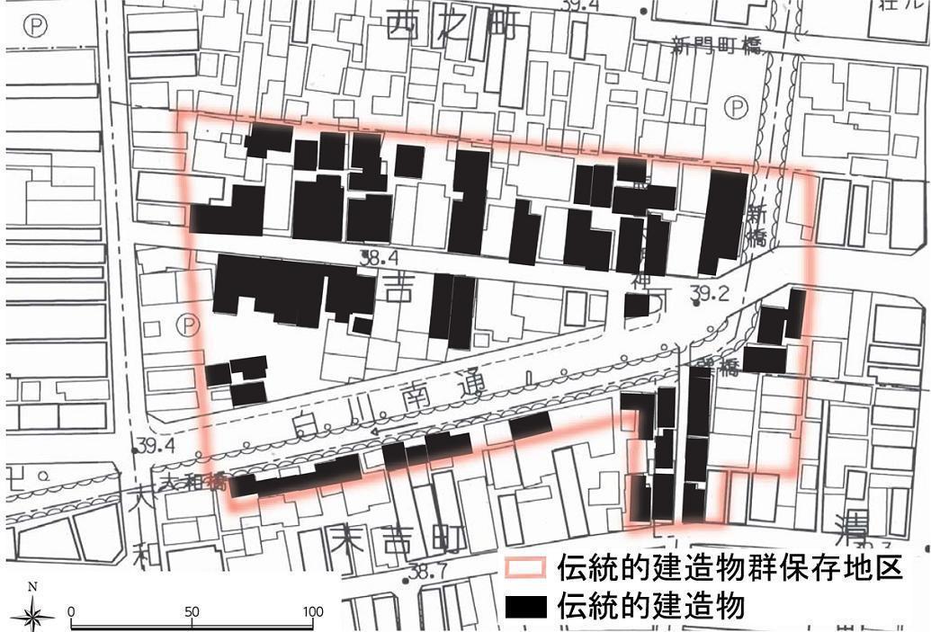 祇園新橋傳統建築物群保存地區,其範圍內的建築物無論是否被認定為傳統建築物者,皆需遵照規定來修繕。 圖/取自京都市網站
