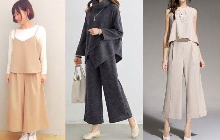 同色系的寬褲套裝能顯現妳的獨特風格。圖片來源:wear.jp、mydre...