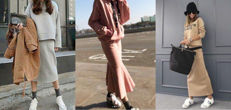 穿上運動風的連帽長裙套裝,展現日常休閒的時尚。圖片來源:mydress、...