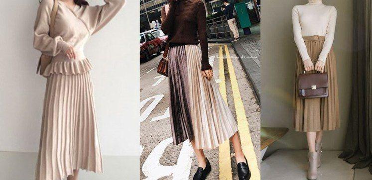 飄逸的百褶長裙能修飾腿型,看起來優雅還有顯瘦效果。圖片來源:mydress...