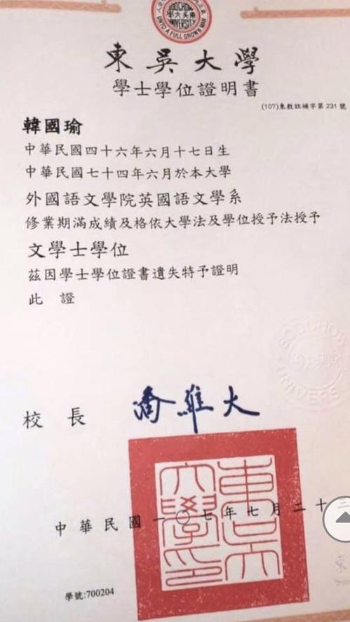 韓國瑜出示東吳大學英文系畢業證書。圖/韓國瑜競選辦公室提供