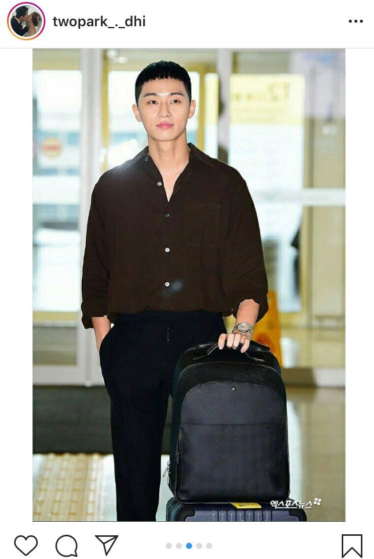 韓國萬寶龍品牌好友朴敘俊今日來台,現身機場秀全套萬寶龍。圖/取自IG