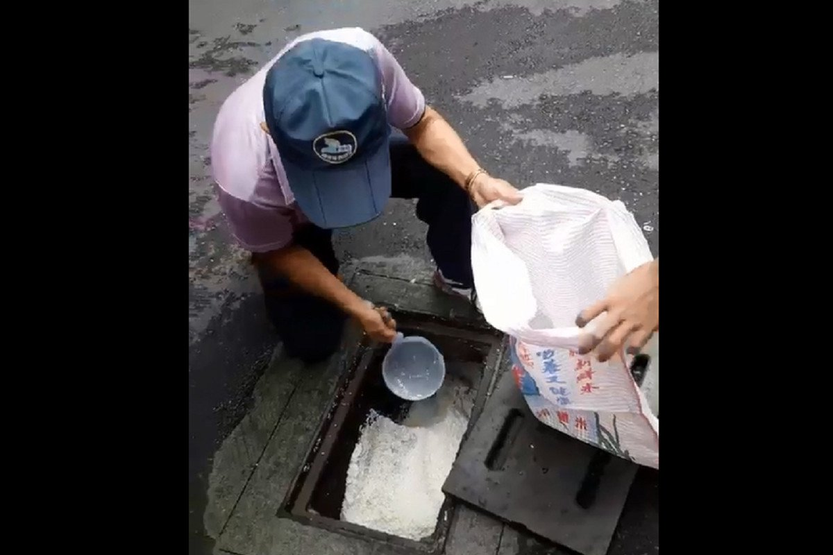 南投縣埔里鎮東門里復興路一處排水溝今被發現遭「白米」堵塞,里長張瑞昆拿著勺子忙舀...