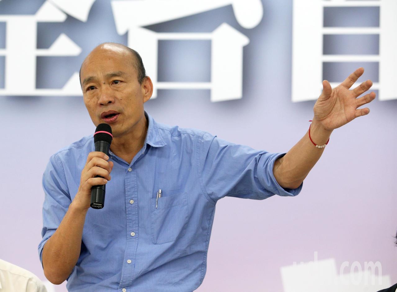 國民黨總統參選人韓國瑜今天進行國政青年政策直播。記者劉學聖/攝影
