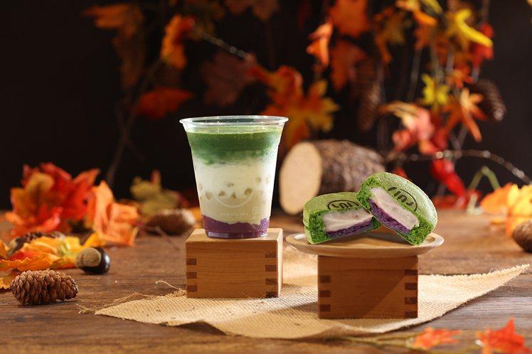 ㄧO八抹茶茶廊「芋想套餐」售價168元(含抹茶芋泥大判燒1個、芋想拿鐵1杯)。圖...