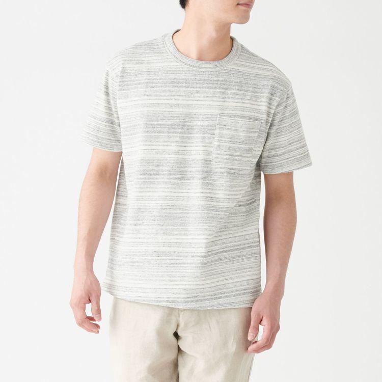 MUJI無印良品「文脈」系列:男再生棉混圓領短袖T恤,售價590元,統一時代與微...