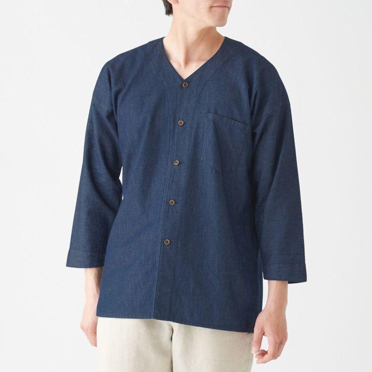 MUJI無印良品「文脈」系列:男土耳其棉藍染日式祭典寬襯衫,售價2,050元,統...
