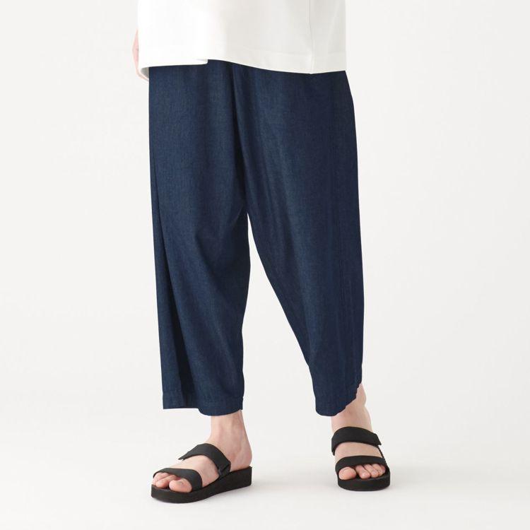 MUJI無印良品「文脈」系列:男土耳其棉藍染日式祭典寬褲,售價2,050元,統一...