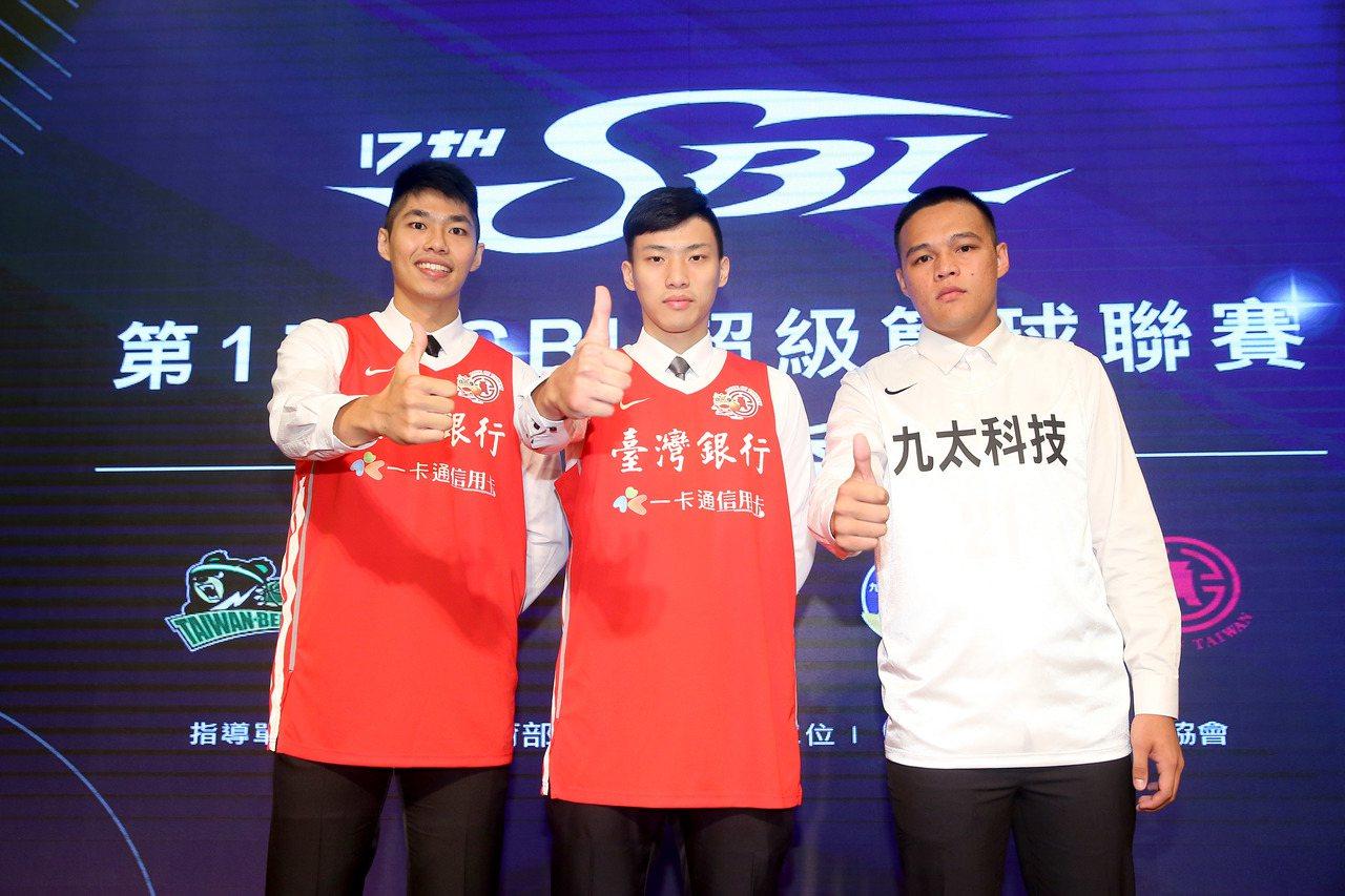 SBL選秀會僅劉人豪、張家禾、陳懷安(左起)三人入選。 記者余承翰/攝影
