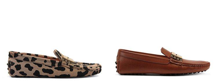 TOD'S動物紋金屬飾釦豆豆鞋(左)與焦糖色金屬飾釦豆豆鞋。 圖/TOD'S 提...