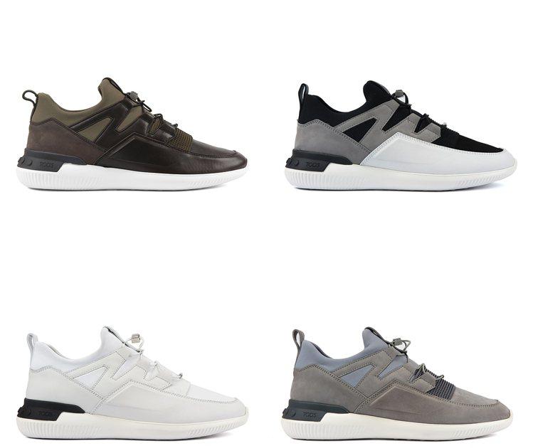 TOD'S為NO_CODE_03異材質拼接休閒鞋迎來多種色調,幻化不同個性。 圖...