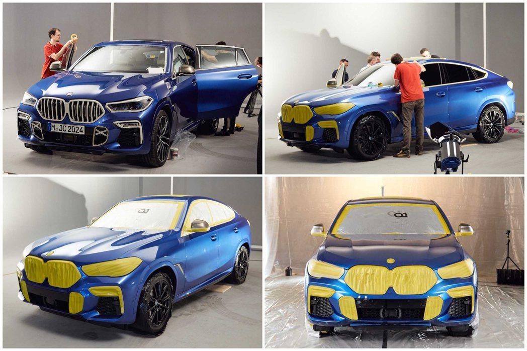 尚未變成Vantablack版本的BMW X6,原本是輛藍色塗裝的車款。 摘自B...