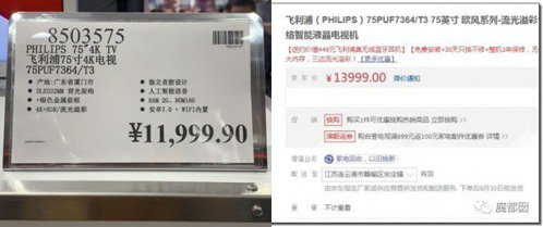 電視機價格場內售11999元(約台幣52萬),場外售13999元(約台幣61萬)...