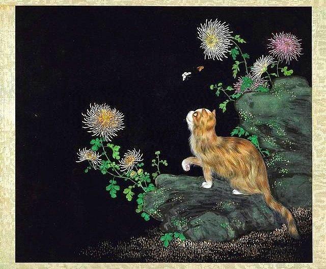 清.沈振麟《耄耋同春》畫冊。本圖片取自網路。
