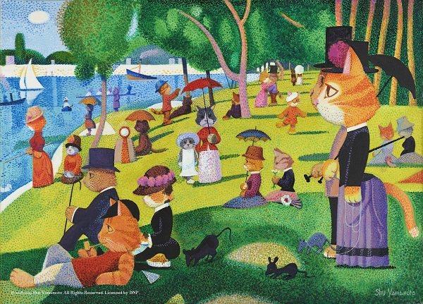 貓美術館」由日本知名畫家山本修以趣味翻玩的手法重新將「世界名畫全面喵化」。圖/聯...