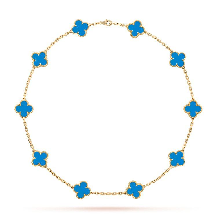 梵克雅寶Vintage Alhambra系列10枚四葉幸運圖騰項鍊,黃K金鑲嵌藍...