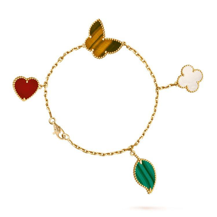 梵克雅寶Lucky Alhambra系列4枚墜飾手鍊,黃K金鑲嵌珍珠母貝、孔雀石...