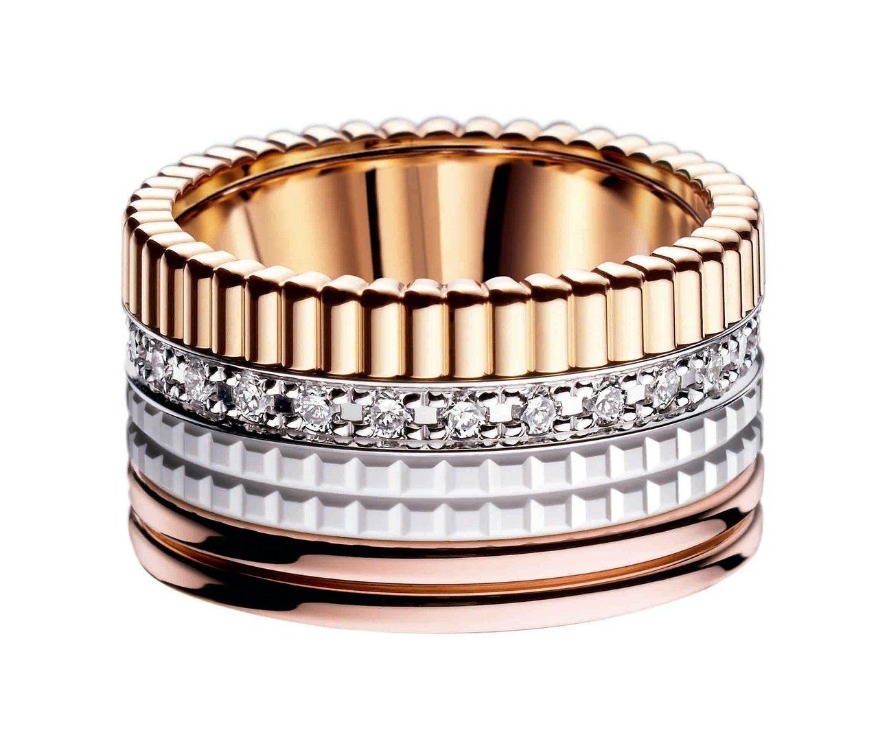 寶詩龍QUATRE WHITE指環,白金、黃金、玫瑰金、白陶瓷鑲嵌鑽石,26萬4...