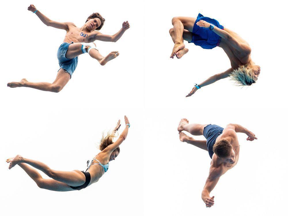 挪威死亡跳水吸引數十名不怕死的選手參加,他們在空中展現各種特技動作。(法新社)
