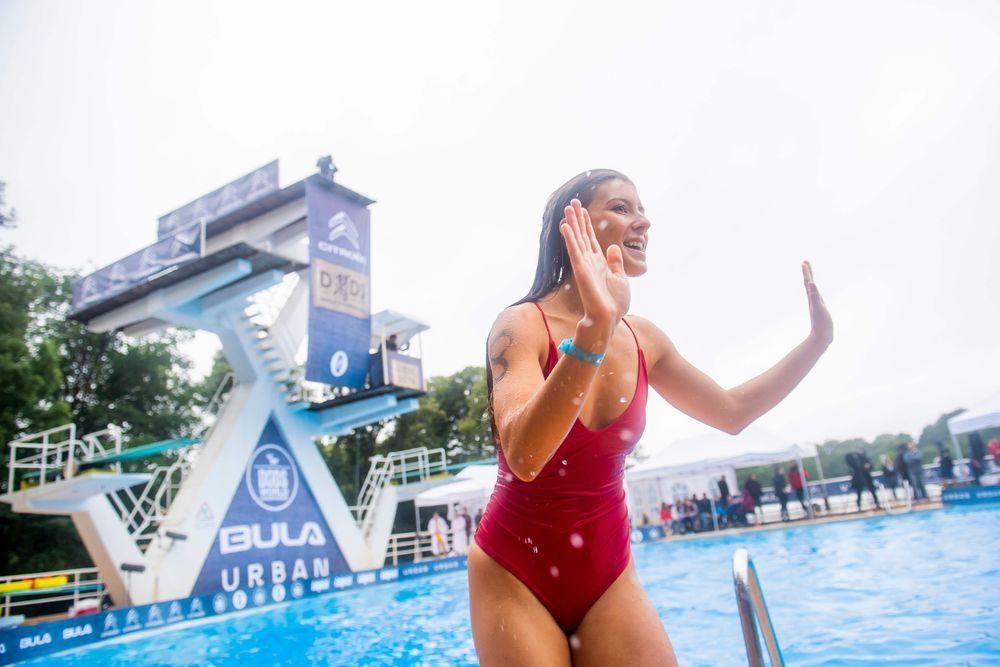 22歲的女性參賽者米莉安‧漢博格在今年死亡跳水世界冠軍賽獲得分組冠軍。(法新社)