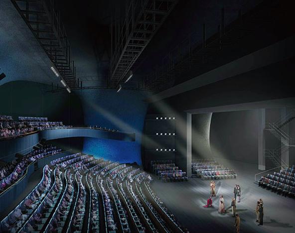 這是台中國家歌劇院的中劇院,兩側也有包廂,目前正在評估是否要在2樓增設「遲到觀眾...