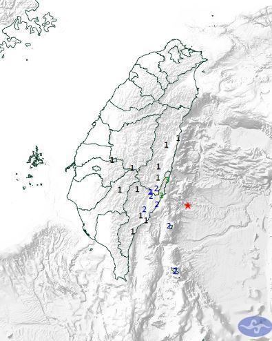 臺東縣地區最大震度3級。 翻攝自氣象局