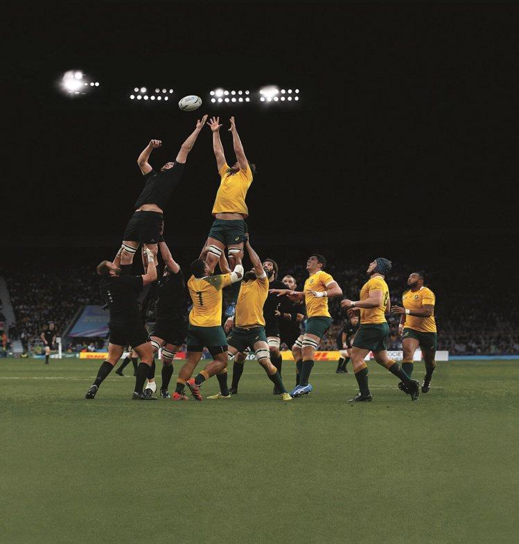 2015年橄欖球世界盃紐西蘭隊 VS 澳大利亞隊精彩畫面。圖/帝舵表提供