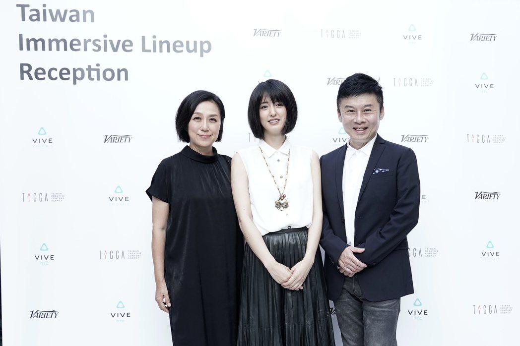 黃韻玲(左起)和小松美羽及導演劉思銘合作VR「祈禱」有份特別因緣。圖/HTC V