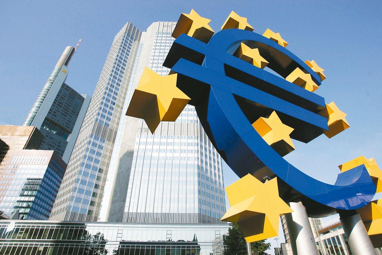 歐元對美元上周五(30日)貶至兩年低點。圖後為「歐元塔」大廈。(法新社)