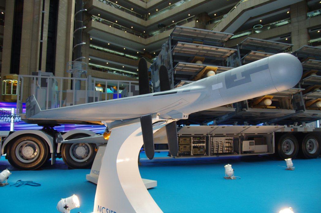 攻擊敵方雷達的劍翔無人機,在今年的國防工業展受到矚目。記者程嘉文/攝影