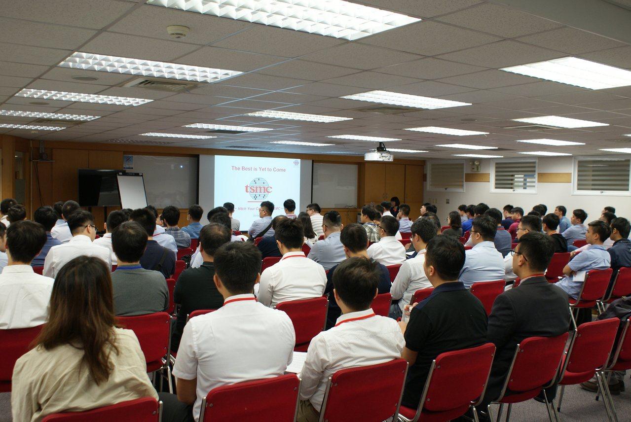 台積電今(1)日在新竹舉行工程人才招募面試會,吸引約300求職者參與面談。台積電...
