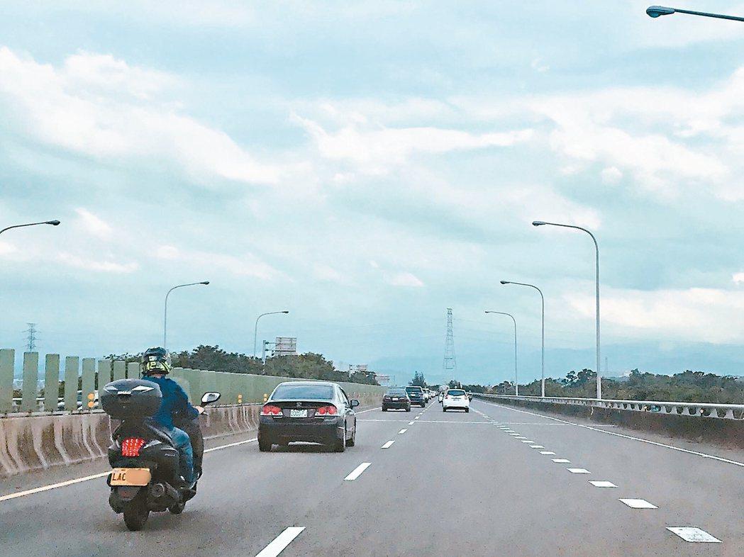 竹科常常塞車,越來越多工程師愛騎黃牌重機速克達,可上高架橋、快速道路,省去等紅綠...