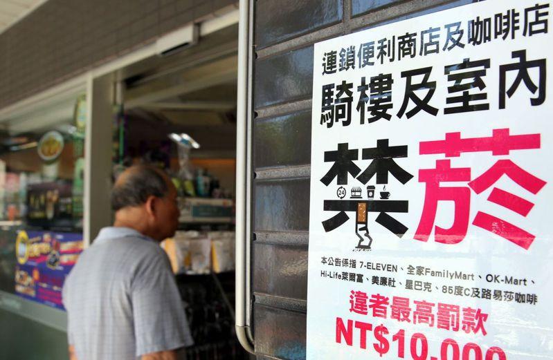 雙北巿9月1日起開罰在連鎖便利商店、咖啡店及速食店業者騎樓抽菸者,高雄巿也跟進,目前有三個月宣導期。記者侯永全/攝影