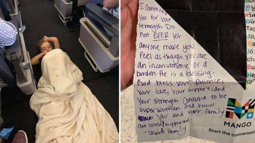 左圖為布雷森躺在機艙走道,右圖為空姐留字條給布瑞爾打氣。(臉書照片)