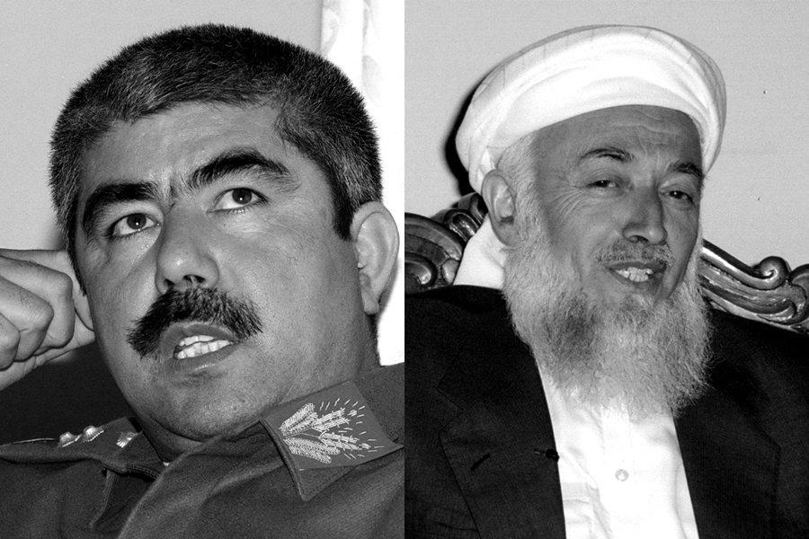 「騎牆派」將軍杜斯塔姆(左),代表著國家北部烏茲別克族及土庫曼族群的利益;以拉巴...