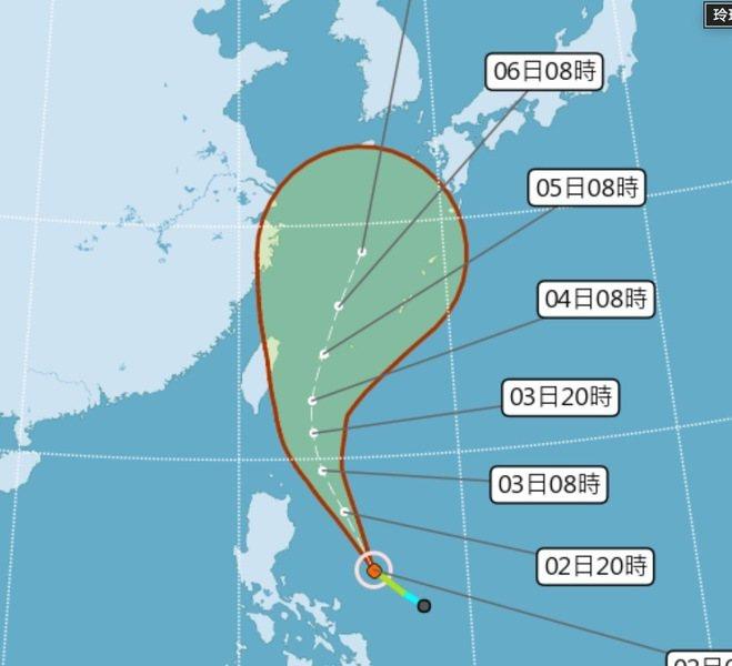 天氣風險公司表示,目前3天後的誤差圈仍相當大,明天會更明朗一些。(photo by中央氣象局)