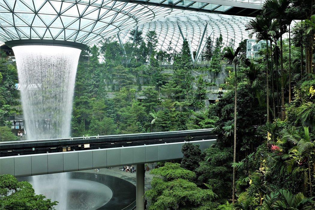 「滙豐銀行雨漩渦」HSBC Rain Vortex被巨大的人造室內森林山谷「森林谷」Forest Valley所環繞,相當魔幻迷離。