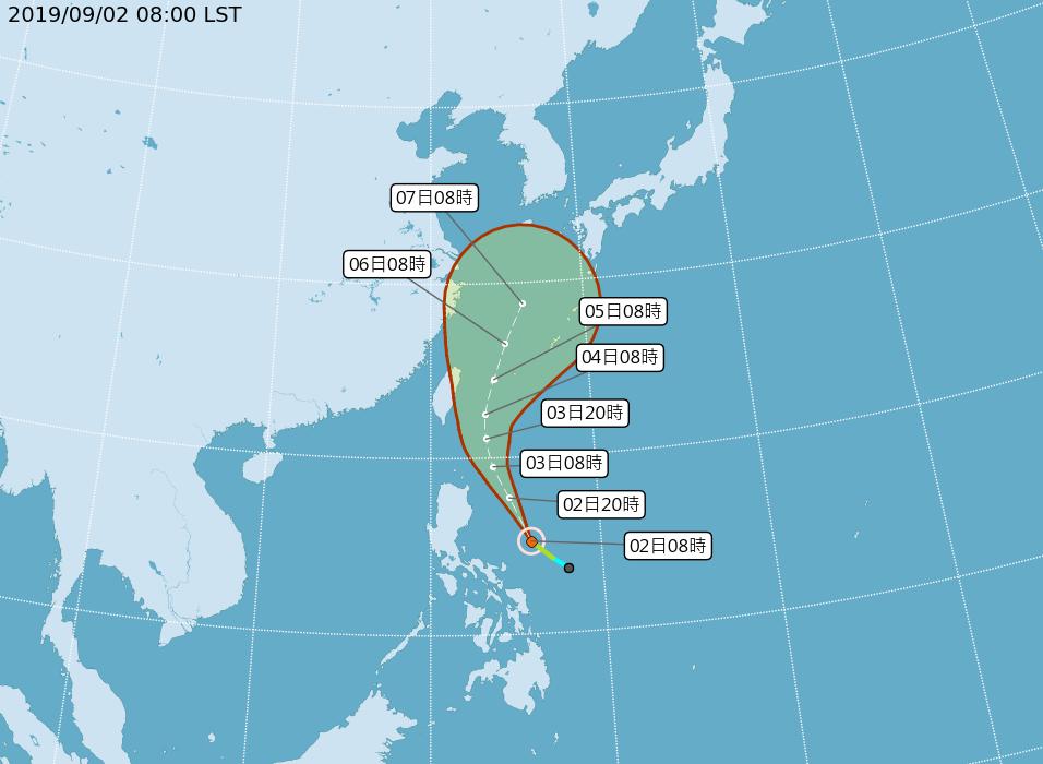 輕度颱風玲玲的路徑潛勢預報。圖/取自氣象局網站