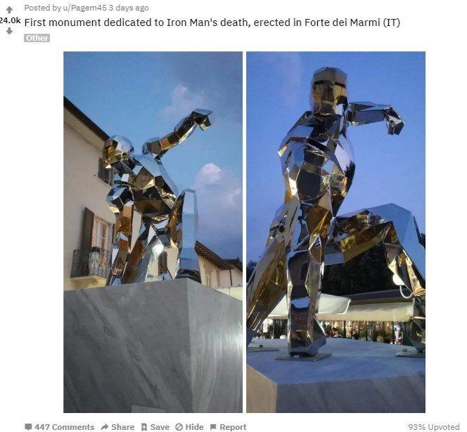 義大利知名雕刻家Daniele Basso為「鋼鐵人」刻下紀念碑。圖/摘自Red...